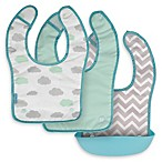 Kushies Silisnap 3-Pack Bib Set in Aqua