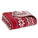 Fair Isle Knit Throw Blanket in Red