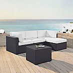 Crosley Biscayne 4-Piece Resin Wicker Sectional Set with Cushions in White