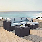 Crosley Biscayne 4-Piece Resin Wicker Sectional Set with Cushions in Mist