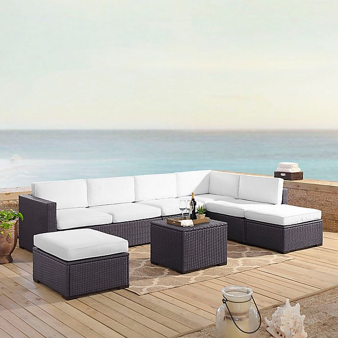 Alternate image 1 for Crosley Biscayne 6-Piece Resin Wicker Sectional Seating Set with White Cushions