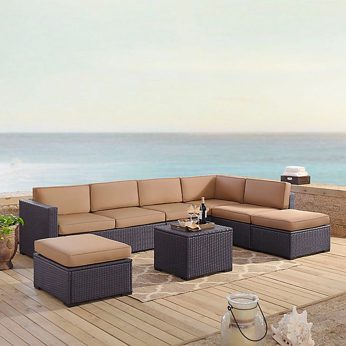 Alternate image 1 for Crosley Biscayne 6-Piece Resin Wicker Sectional Seating Set with Mocha Cushions