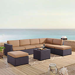 Crosley Biscayne 6-Piece Resin Wicker Sectional Seating Set