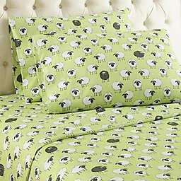 Micro Flannel® Sheep Print Queen Sheet Set in Green