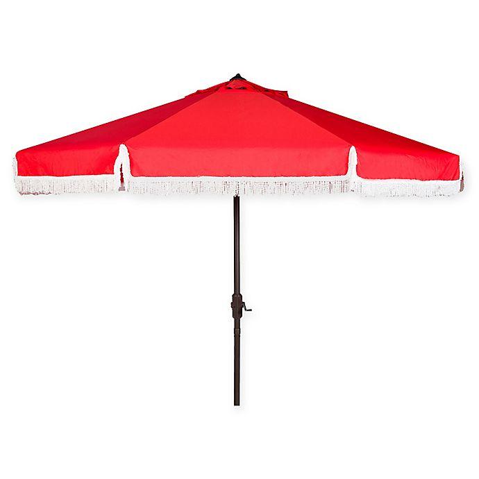 Alternate image 1 for Safavieh UV Resistant Milan 9-Foot Crank Umbrella in Red/White