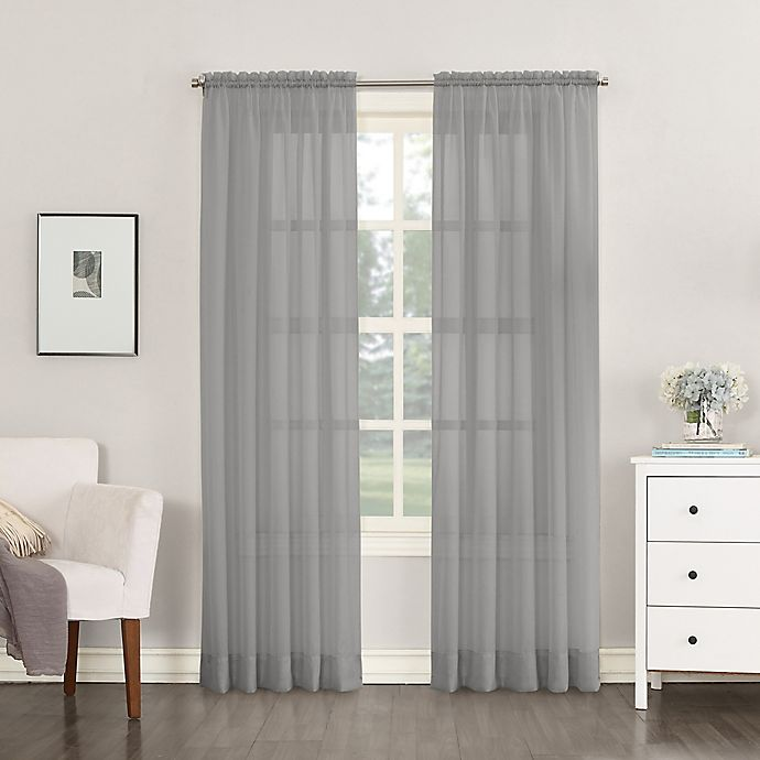 Alternate image 1 for No.918® Emily Sheer Voile 63-Inch Rod Pocket Window Curtain Panel in Charcoal