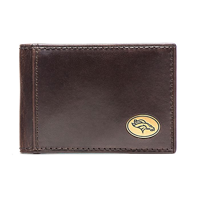 Jack Mason NFL Denver Broncos Legacy Leather Flip Bifold Wallet in Brown 9ec7623de