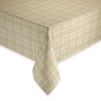 Tuscan Plaid Laminated Fabric Tablecloth And Napkins Bed