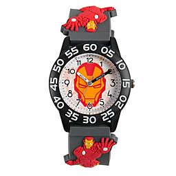 Marvel® Iron Man Children's 32mm Time Teacher Watch in Black with Grey 3D Strap