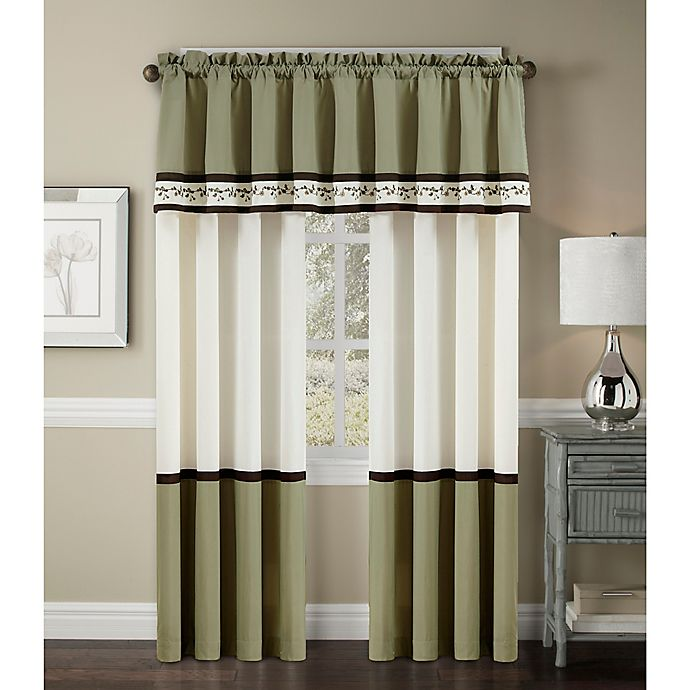 Palma Rod Pocket Window Curtain Valance in Green/Brown   Bed ...