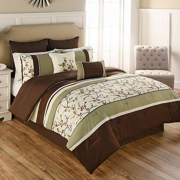Alternate image 1 for Palma 8-Piece Full Comforter Set in Green/Brown