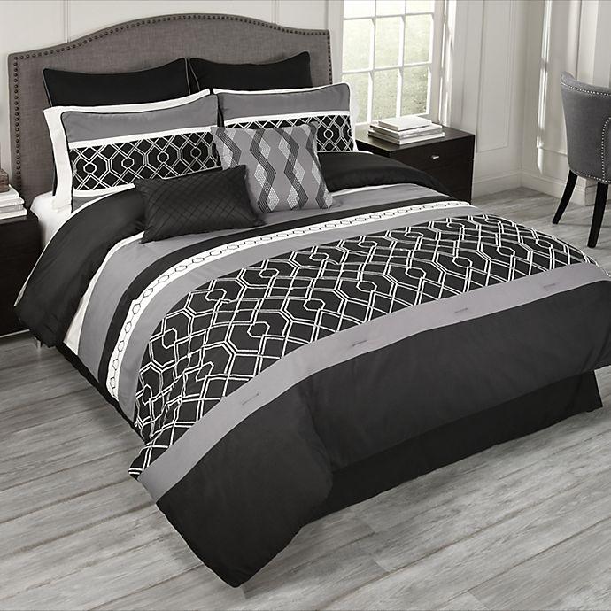 Alternate image 1 for Griffen 9-Piece King Comforter Set in Black/White/Grey