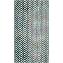 Safavieh Courtyard Check Indoor/Outdoor 2-Foot x 30Foot 7-Inch Accent Rug in Turquoise/Light Grey