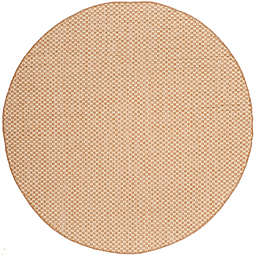 Safavieh Courtyard Check Indoor/Outdoor 6-Foot 7-Inch Round Area Rug in Natural/Cream