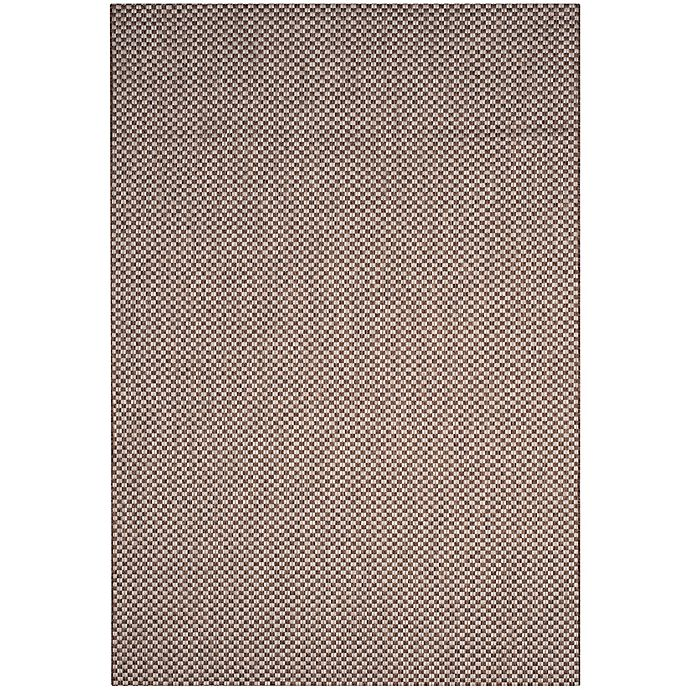 Alternate image 1 for Safavieh Courtyard Check Indoor/Outdoor 6-Foot 7-Inch x 9-Foot 6-Inch Area Rug in Light Brown/Grey