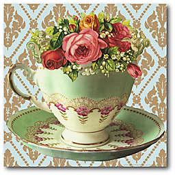 Courtside Market Tea Cup Party II 16-Inch Square Canvas Wall Art