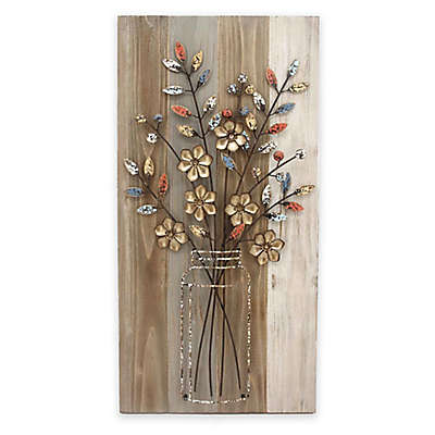 "Stylecraft ""Bouquet B"" 15.8-Inch x 31.5-Inch Wood and Metal Wall Art"