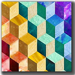 Courtside Market Rainbow Blocks 16-Inch Square Canvas Wall Art