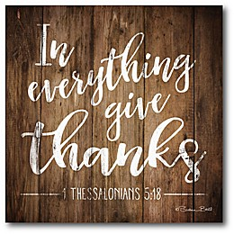 "Courtside Market ""In Everything Give Thanks"" 16-Inch Square Canvas Wall Art"