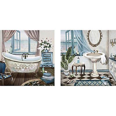 Bath 12-Inch x 24-Inch Canvas Wall Art (Set of 2)