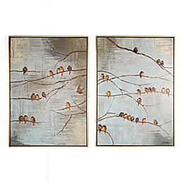 Flock of Birds 20-Inch x 28-Inch Handpainted Canvas Wall Art (Set of 2)