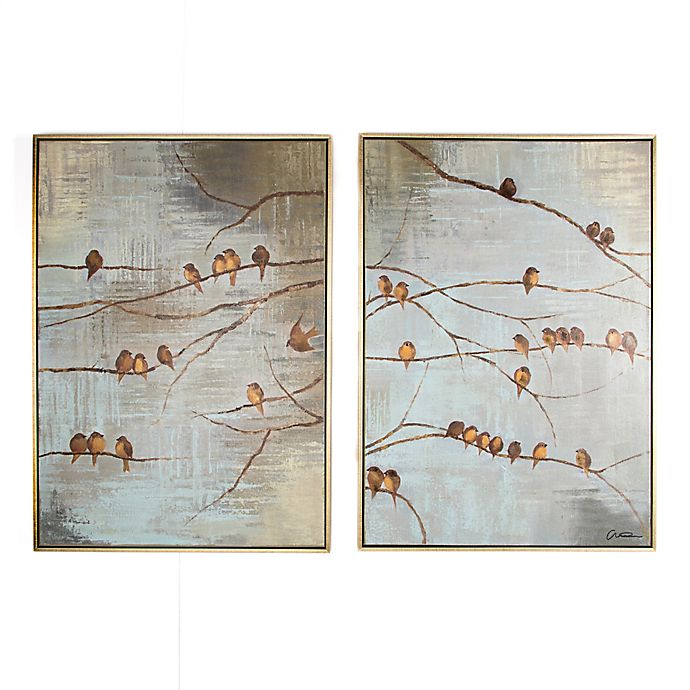 Alternate image 1 for Flock of Birds 20-Inch x 28-Inch Handpainted Canvas Wall Art (Set of 2)