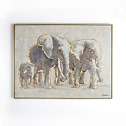 Graham & Brown Metallic Elephant Family 31-Inch x 24-Inch Framed Canvas Wall Art