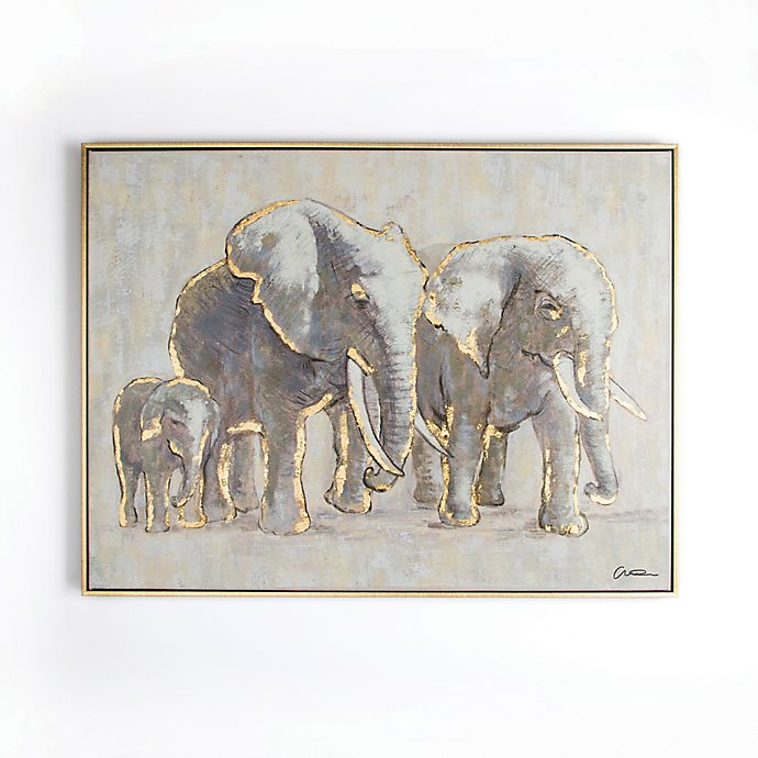 Alternate image 1 for Graham & Brown Metallic Elephant Family 31-Inch x 24-Inch Framed Canvas Wall Art