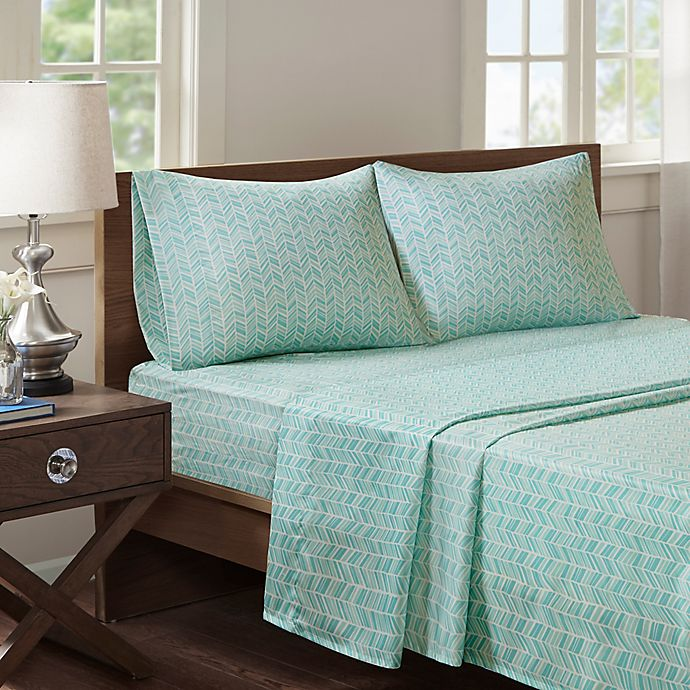 Alternate image 1 for Madison Park Chevron Microfiber Printed King Sheet Set in Seafoam