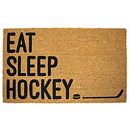 """""""Eat Sleep Hockey"""" 18-Inch x 30-Inch Door Mat"""