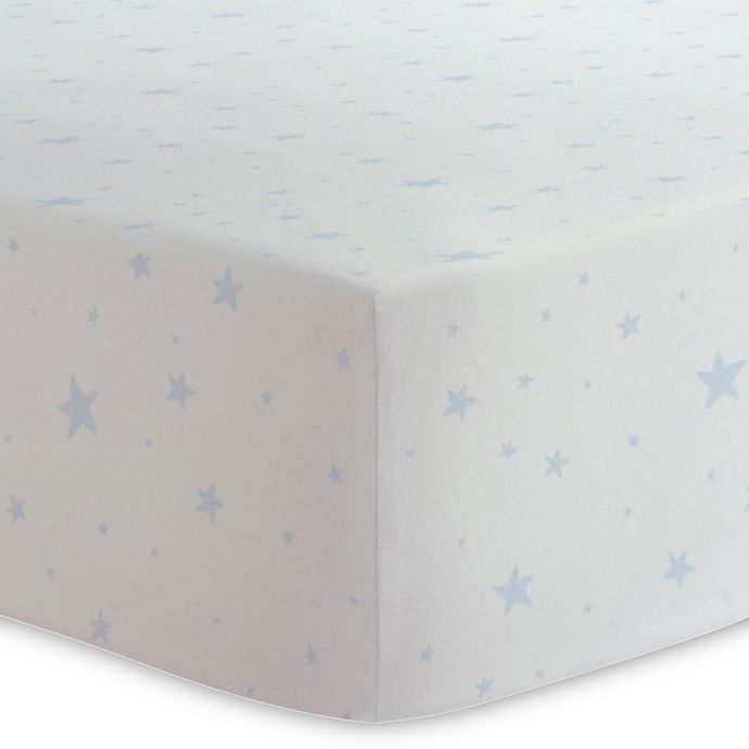 Alternate image 1 for Kushies® Scribble Stars Cotton Flannel Fitted Crib Sheet in Blue/White