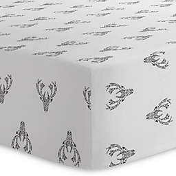 Kushies® Deer Cotton Flannel Fitted Crib Sheet in Black/White