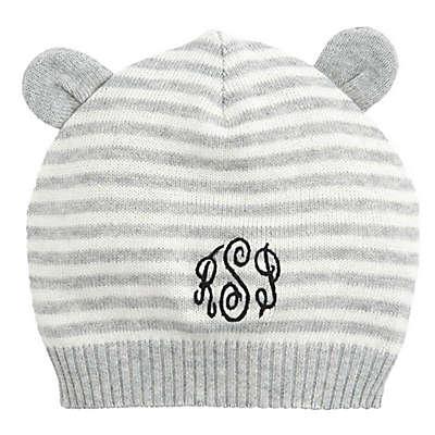 Elegant Baby® Stripe Hat with Ears in Grey