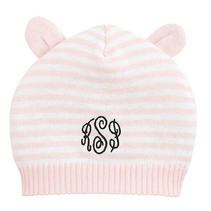 Alternate image 1 for Elegant Baby® Stripe Hat with Ears in Pink