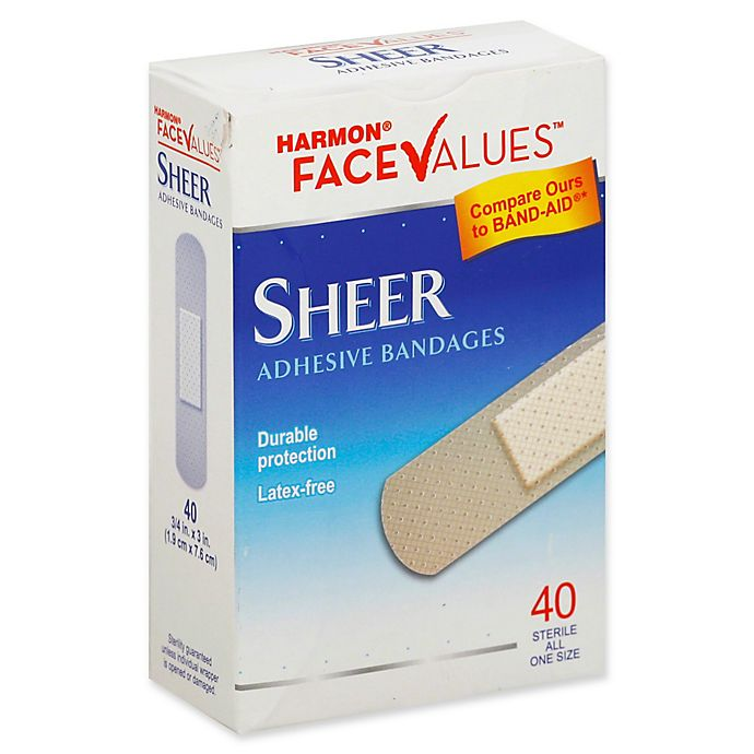 Alternate image 1 for Harmon® Face Values® 40-Count 3/4-Inch Sheer Adhesive Fabric Bandage
