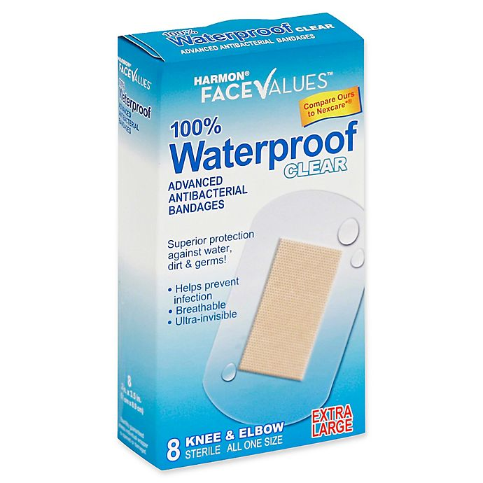 Alternate image 1 for Harmon® Face Values® 8-Count Extra Large Waterproof Antibacterial Knee & Elbow Bandage