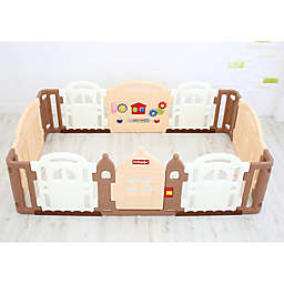 Dwinguler Large Kid's Castle Playpen in Caramel