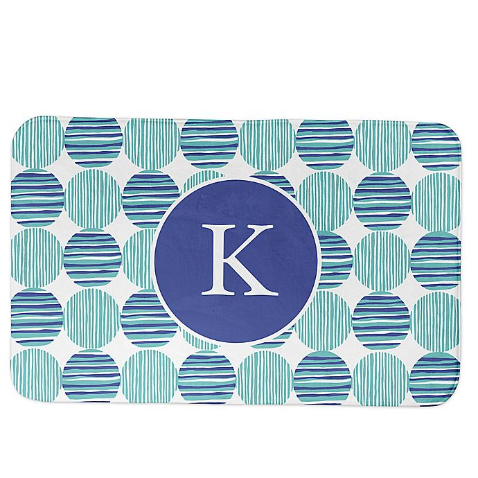 Alternate image 1 for Designs Direct Preppy Locking Circles Bath Mat in Blue
