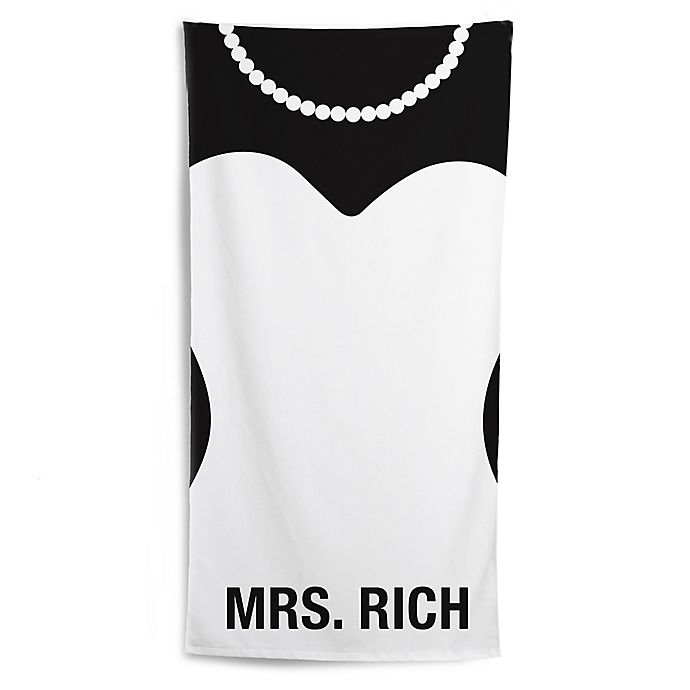 Alternate image 1 for The Bride Beach Towel in Black/White