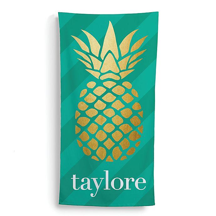 Alternate image 1 for Golden Pineapple Beach Towel in Gold/Green
