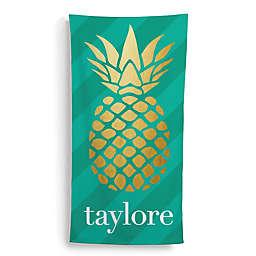 Golden Pineapple Beach Towel in Gold/Green