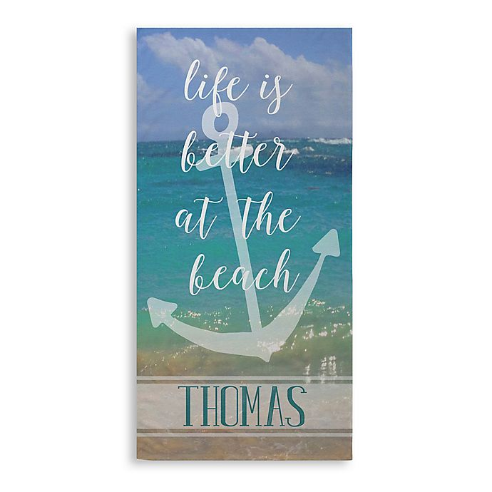 """Alternate image 1 for """"Life Is Better At The Beach"""" Beach Towel in Blue"""