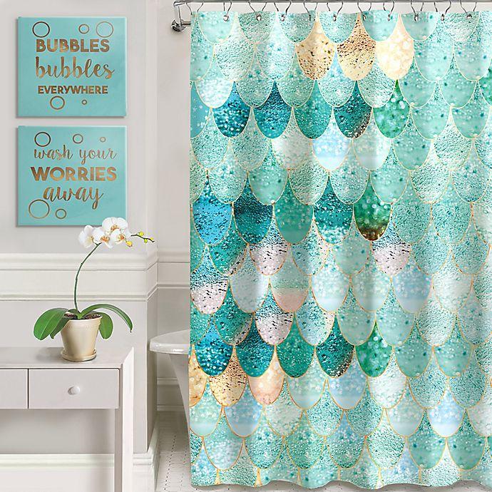 Heaton Parke Bubbles Art Shower Curtain Set In Green
