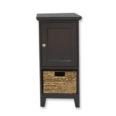 1 basket bathroom floor cabinet in espresso bed bath - Bathroom storage cabinet with baskets ...