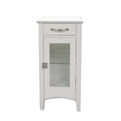 1 Drawer Bathroom Floor Cabinet With Glass Door In White Bed Bath