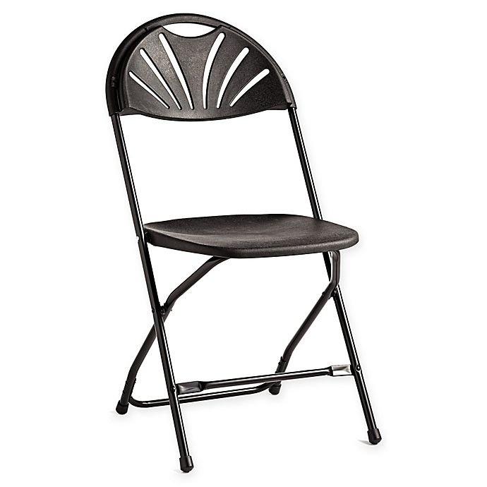 Alternate image 1 for Fanback Plastic Folding Chairs in Black (Set of 8)