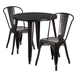 Flash Furniture 3-Piece 30-Inch Round Metal Table and Stackable Bistro Chairs Set