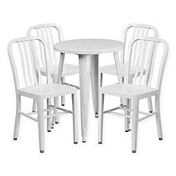 Flash Furniture 5-Piece 24-Inch Round Metal Table and Chairs Set in White