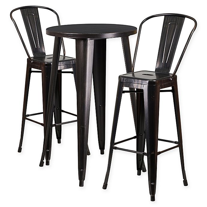 Flash Furniture 3 Piece Round Metal Bar Table And Stools