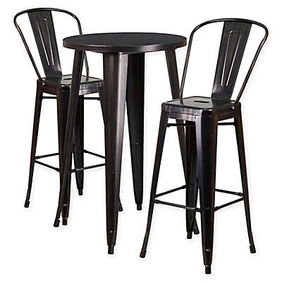 Flash Furniture 3-Piece Round Metal Bar Table and Stools Set